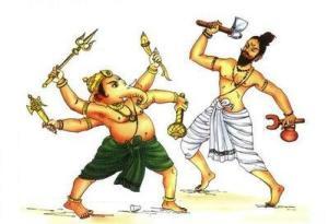 ekdanta_Ganesha_parshuram_Fight